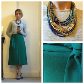 Warehouse midi skirt, Topshop top, Stella & Dot necklace