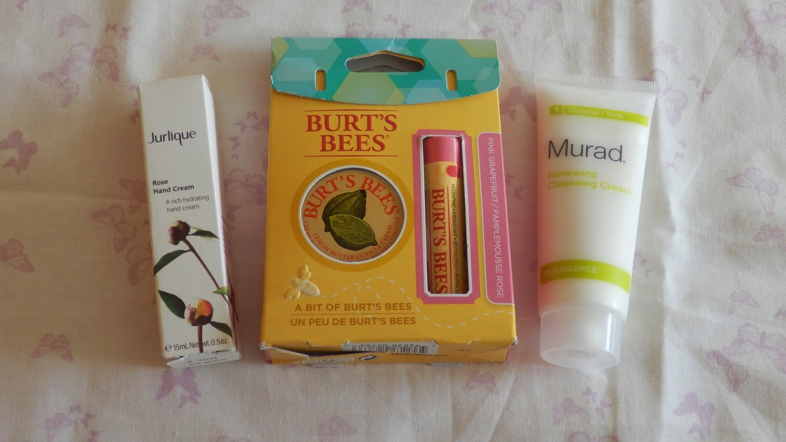 2 Year Blogiversary Giveaway win Jurlique Rose Hand Cream, Murad Renewing Cleansing Cream and Burt's Bees A Bit of Burt's Bees Set