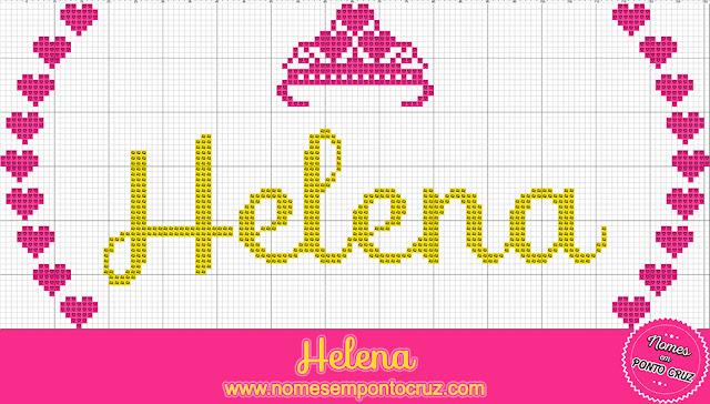 Nome Helena em Ponto Cruz com Coroa
