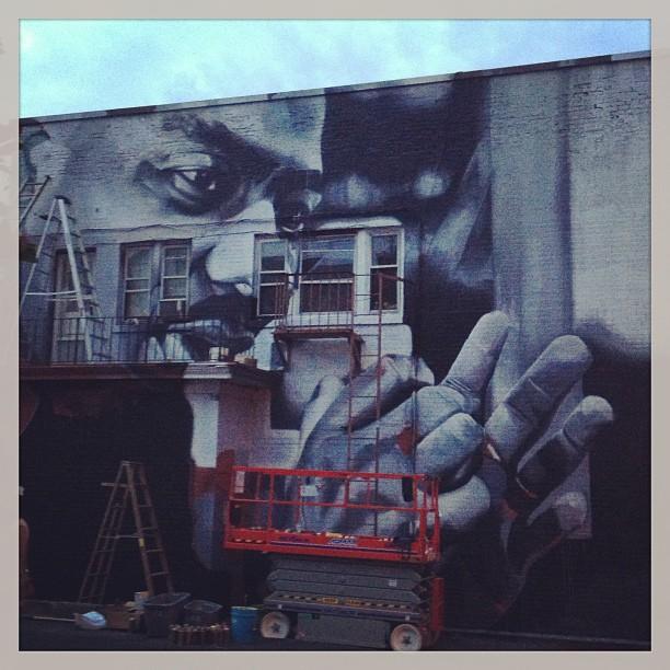 street-art mural progress by street artist case