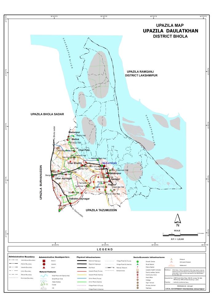 Daulatkhan Upazila Map Bhola District Bangladesh