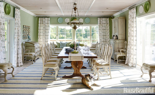Peonies and orange blossoms dining room inspiration for Homes with beautiful dining rooms