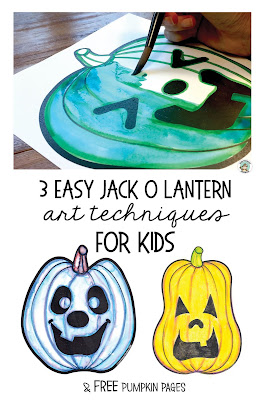 3 easy art techniques for adding color to your jack o lantern drawing. A fun Halloween art project for kids adding faces to their pumpkins and maybe even reviewing a little coloring mixing. Need a quick fall art lesson idea?