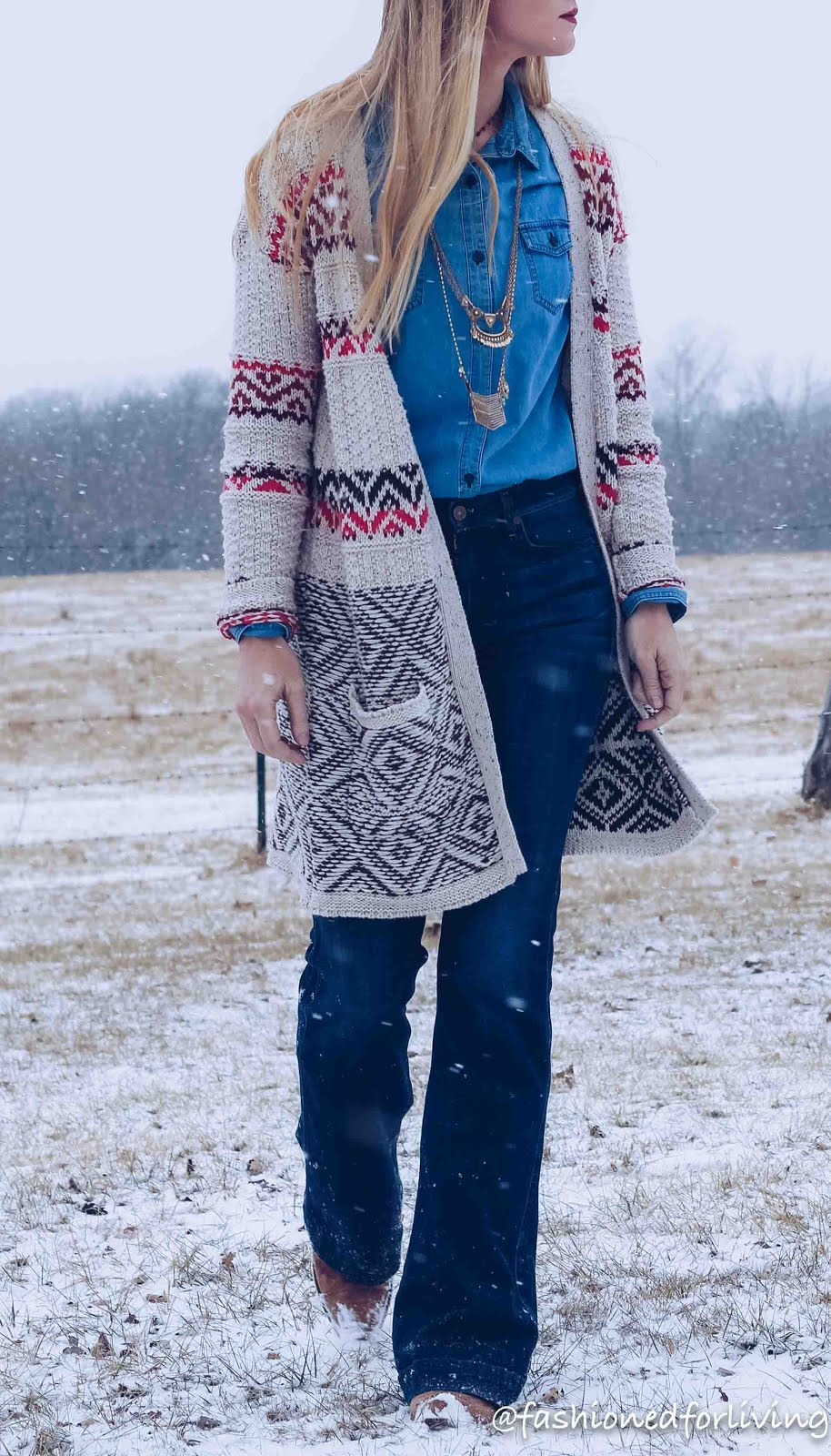 denim on denim outfit with long cardi and cowboy boots