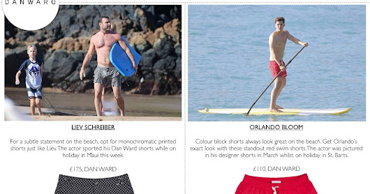 EXACT MATCH - Orlando Bloom & Liev Schreiber hit the beach in Dan Ward!