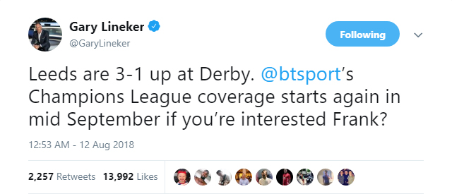 Gary Lineker offers Frank Lampard his old BT Sport job back as Leeds crush Derby