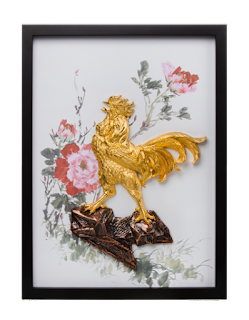 Courage consists of a rooster cast in pewter and plated in 24k gold, mounted on a canvas with a printed watercolour of peonies.