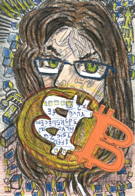 All Quiet on the Bitcoin Front by Joe Chiappetta is mixed media and collage on paper, scanned and made available as rare digital art on MakersPlace