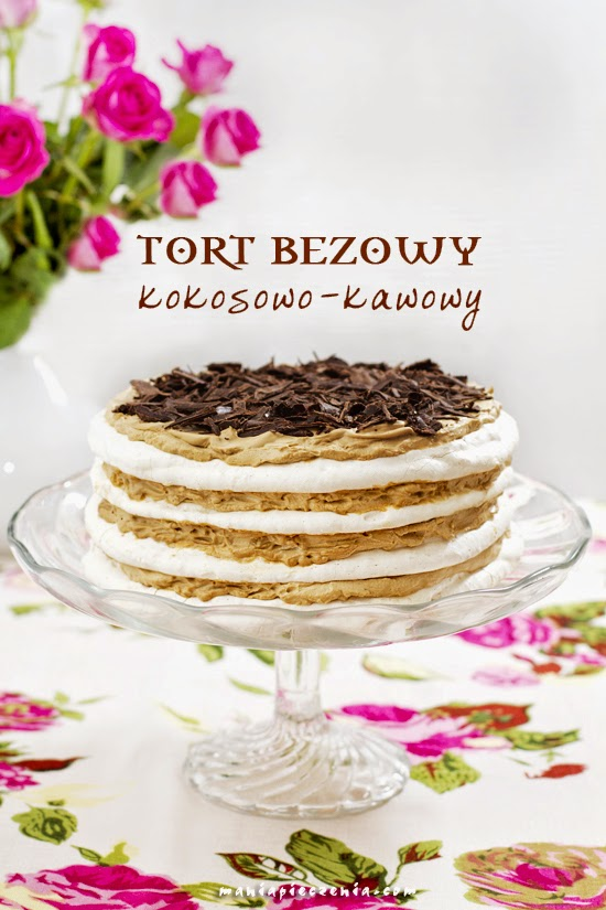 Tort bezowy kokosowo-kawowy