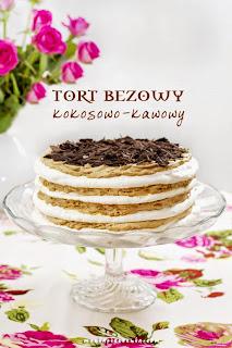 Tort bezowy kokosowo - kawowy