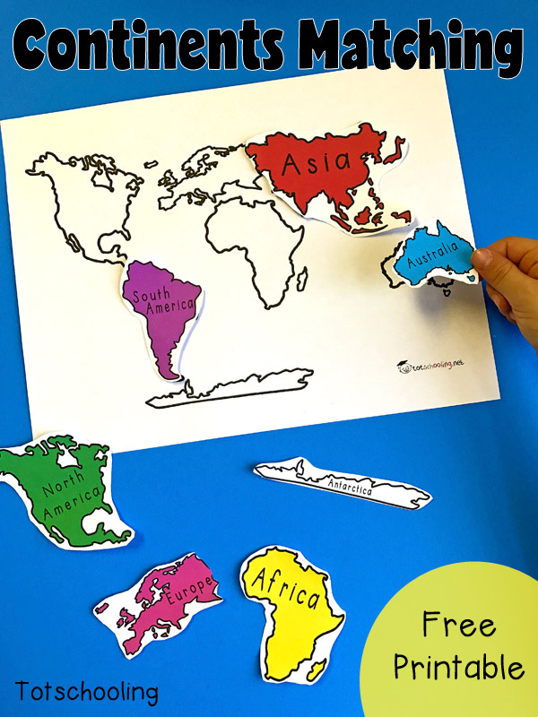 7 continents of the world matching activity totschooling free geography matching activity with the 7 continents of the world perfect for toddlers gumiabroncs Choice Image