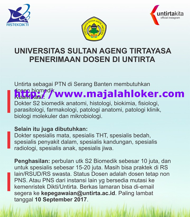 lowongan dosen biomedik ptn universitas sultan ageng tirtayasa untirta banten