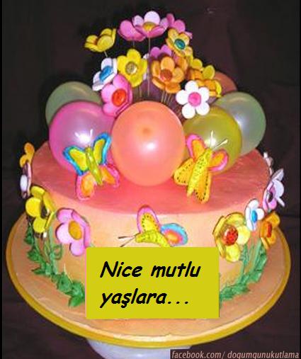 Pastalı Balonlu Çiçekli Doğum Günü Mesajı