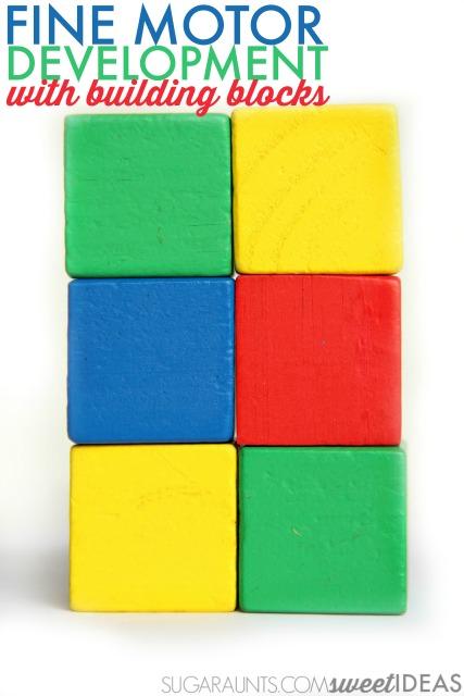 Work on fine motor skills with wooden blocks