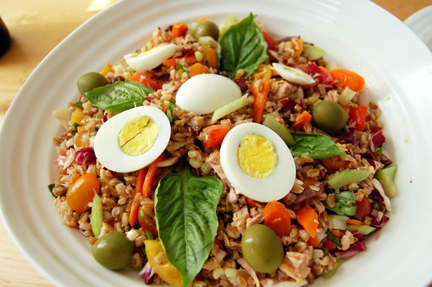 This hard boiled egg salad with olives and basil is perfect for summer.