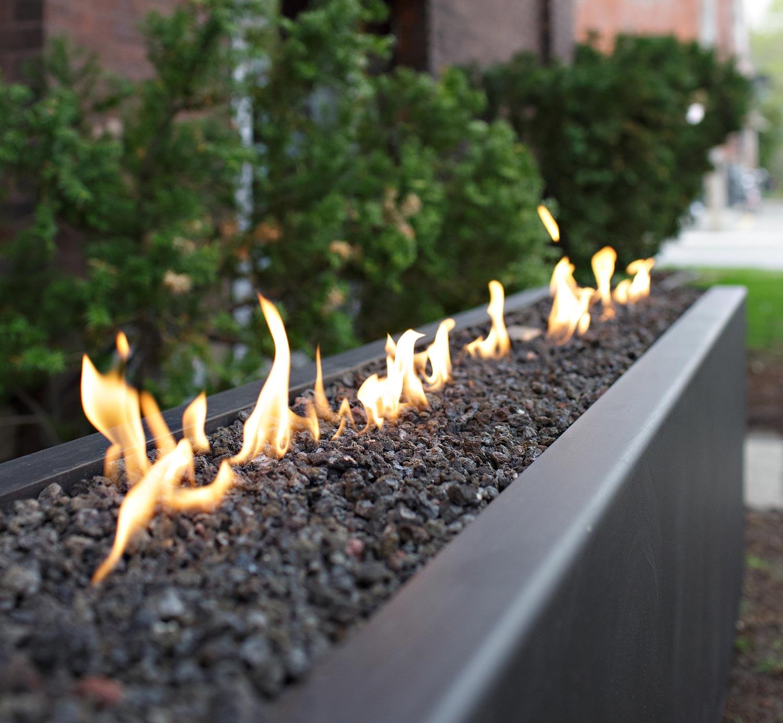 Stardust Long Rectangular Outdoor Fire Pit Steel Black