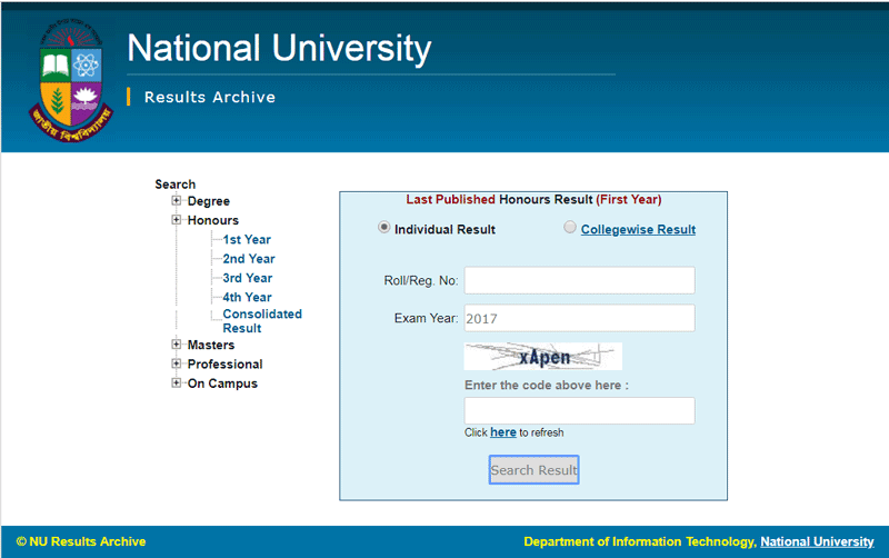 Degree 3rd year result via online