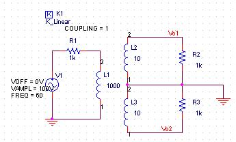 usr602: Coupled inductors to simulate a center tap transformer