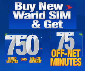 Warid 3 Months Offer Gives Free Minutes SMS and Mb's
