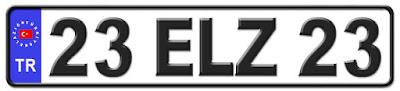 Elazığ il isminin kısaltma harflerinden oluşan 23 ELZ 23 kodlu Elazığ plaka örneği