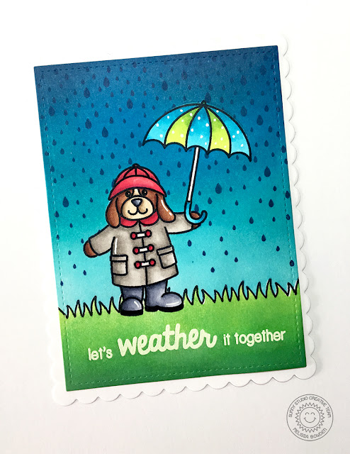 Sunny Studio Stamps Rain or Shine Rainy Day Let's Weather It Together Card by Melissa Bowden.