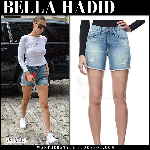 Bella Hadid in white top, denim shorts good american and white sneakers nike what she wore july 27 street style