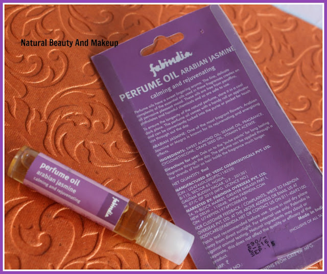 Fabindia Arabic Jasmine Perfume Oil (Calming & Rejuvenating) Review on Natural Beauty And Makeup Blog