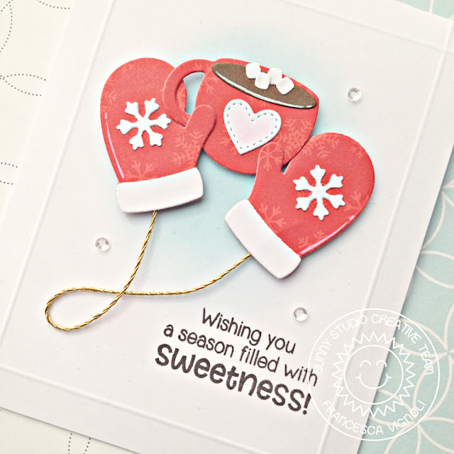 Sunny Studio Stamps: Warm & Cozy Jolly Gingerbread Hot Cocoa And Mittens Christmas Cards by Franci Vignoli