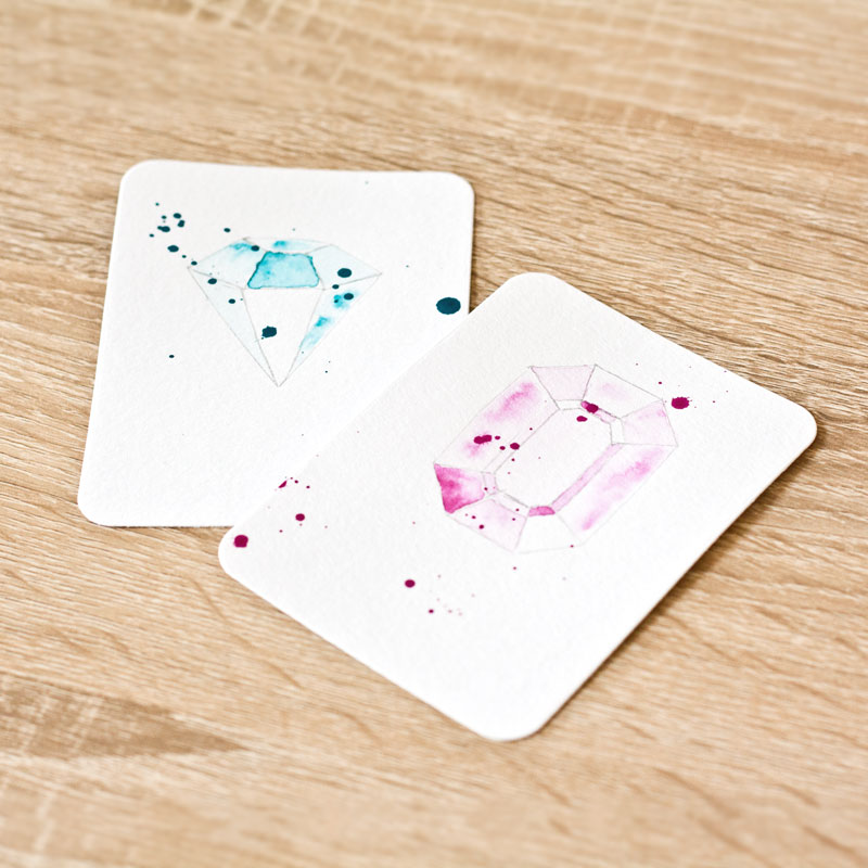 DIY Watercolour Gem project life cards