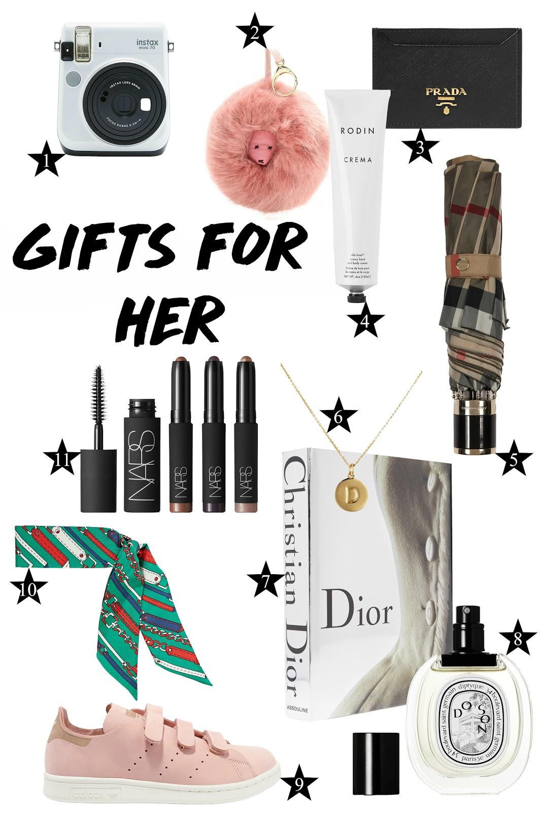 fujifilm, shripms, prada, rodin, burberry, kate spade, assouline, diptyque, adidas, gucci, nars, gift guide, holidays, for her,