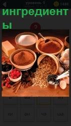 Различные специи для приготовления пищи  и ингредиенты в тарелочках и ложечки в них