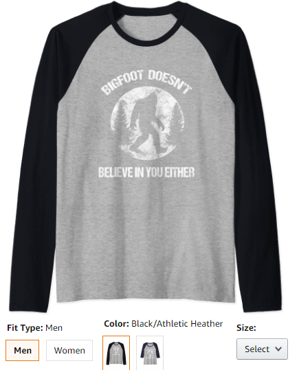 Bigfoot Doesn't Believe In You Either shirt distressed big Raglan Baseball Tee
