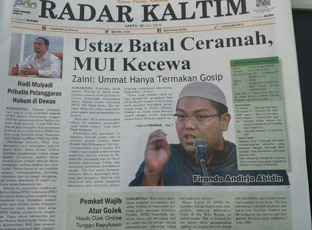 Ustadz Firanda Batal Ceramah, MUI Kecewa