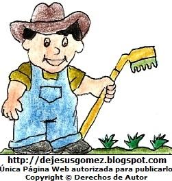 Dibujo de un campesino con su rastrillo pintado a mano. Dibujo de un campesino de Jesus Gómez