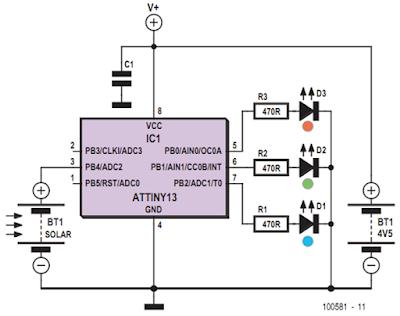 RGB Solar Lamp Circuit Diagram
