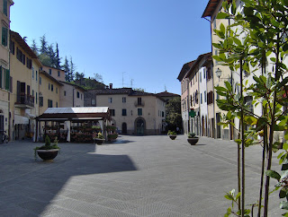 The Via Bettino Ricasole is a broad street, almost a  piazza, in the centre of Gaiole in Chianti