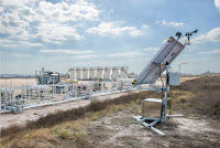 Pilot testing Quanta3's continuous methane monitoring system at a Texas drill pad (Photo Credit: John Davidson Photography) Click to Enlarge.