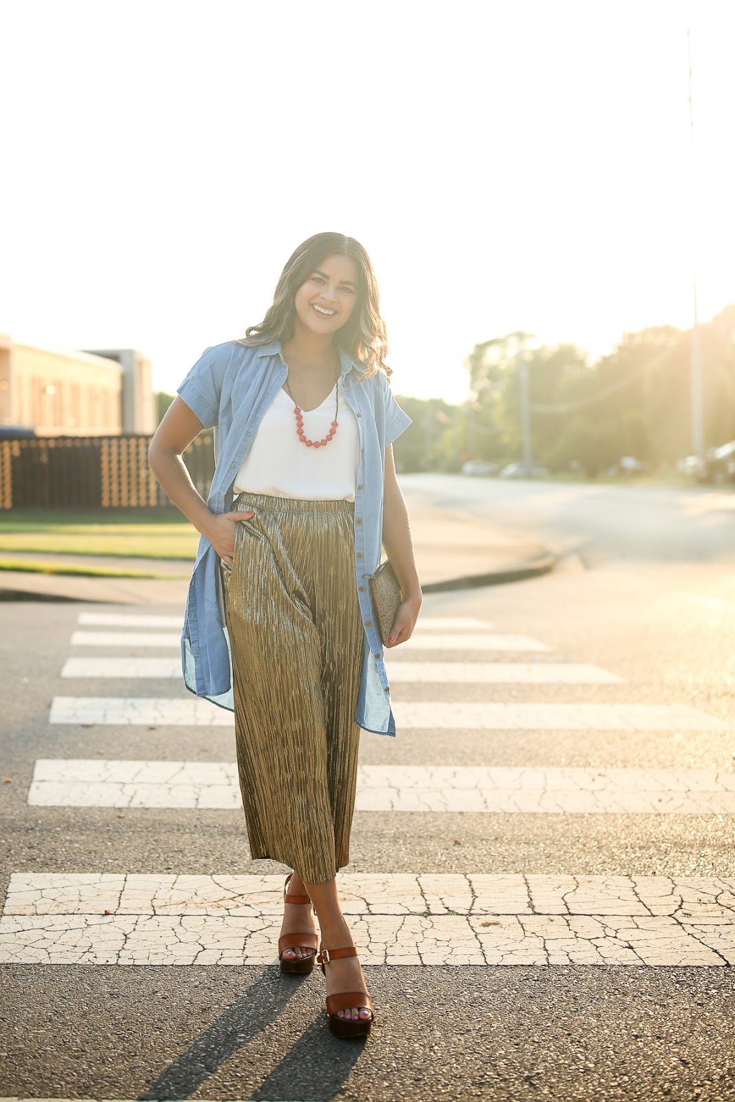 Priya the Blog, Nashville fashion blog, Nashville fashion blogger, Nashville style blog, Nashville style blogger, metallic pants, gold pants, how to wear metallic pants, Topshop pleated gold trousers for Summer, Summer outfit with metallic pants, casual outfit with metallic pants, Madewell chambray dress, Target clog sandals