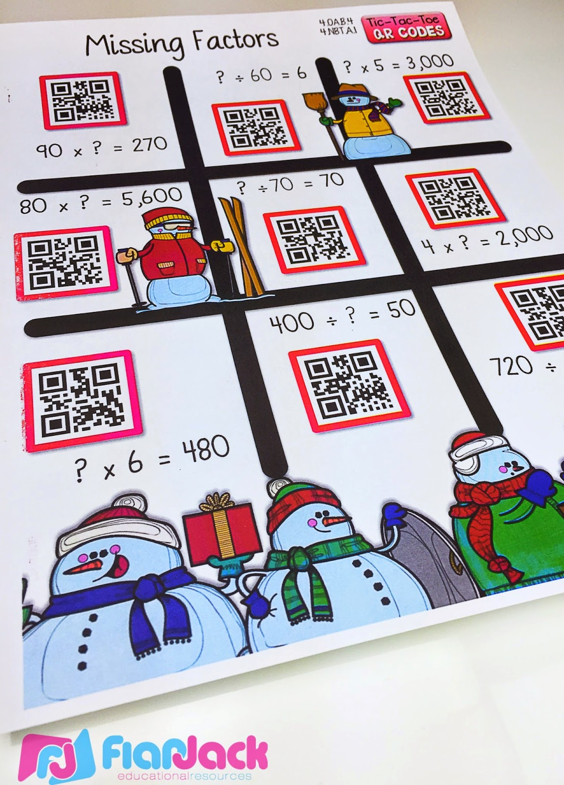 Flapjack Educational Resources Holiday Qr Code Printables Sample Freebie And Resource