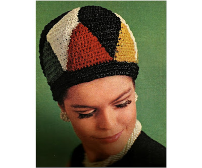 The Vintage Pattern Files: Free 1960's Crochet Pattern - Geometric Cap ala Piet Mondrian