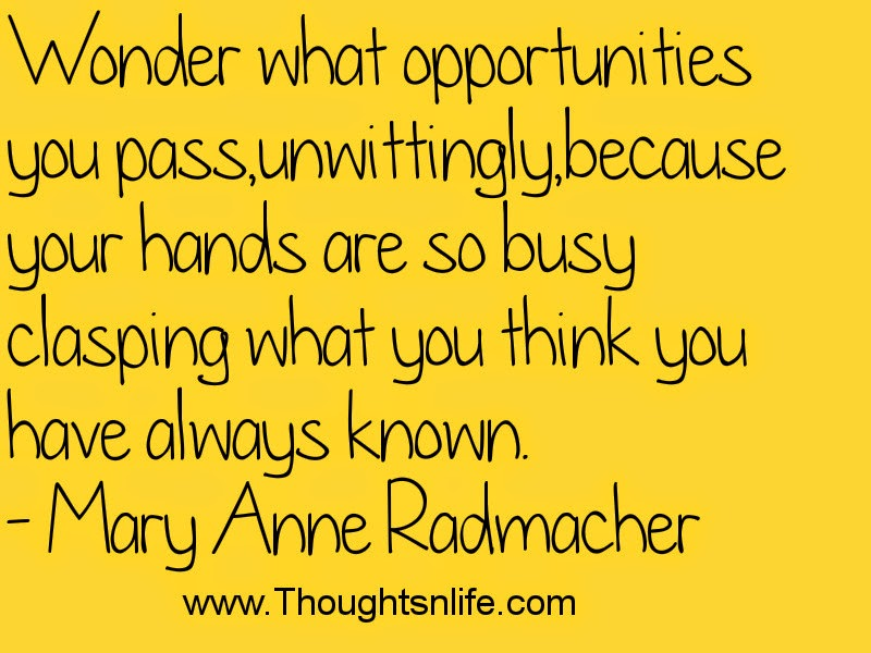 Wonder what opportunities you pass..- Mary Anne Radmacher