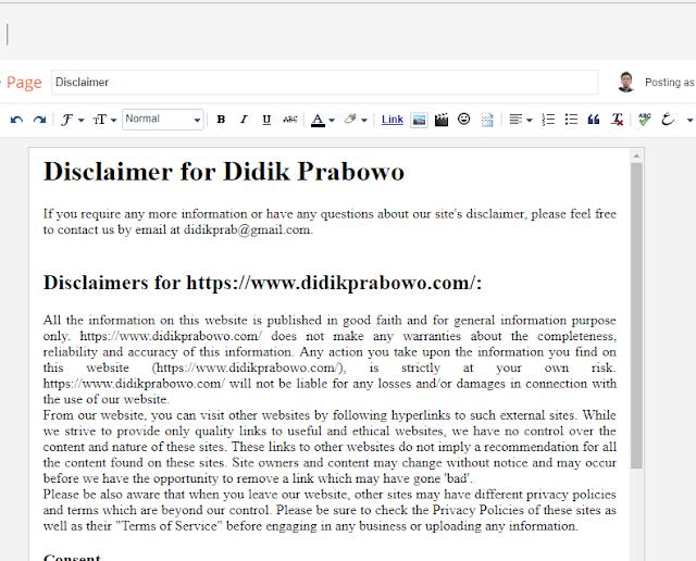 Cara membuat halaman disclaimer blog dengan mudah