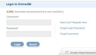 SBI Online Banking Login Page