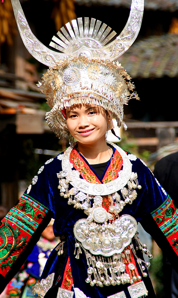 Local fashion: Traditional headdresses of the Miao women ...