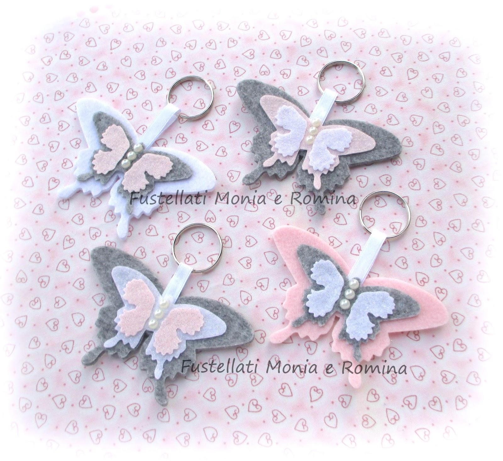 Portachiavi Shabby Chic A Forma Di Delicate Farfalle Rosa Grigio E