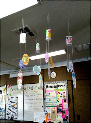 Pi Day mobiles hanging in a classroom