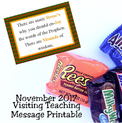 Take a sweet handout with your Visiting Teaching message  to your sisters in November. This fun and yummy printable tag will remind them why it's important to listen to the words of the prophets and read them this month.
