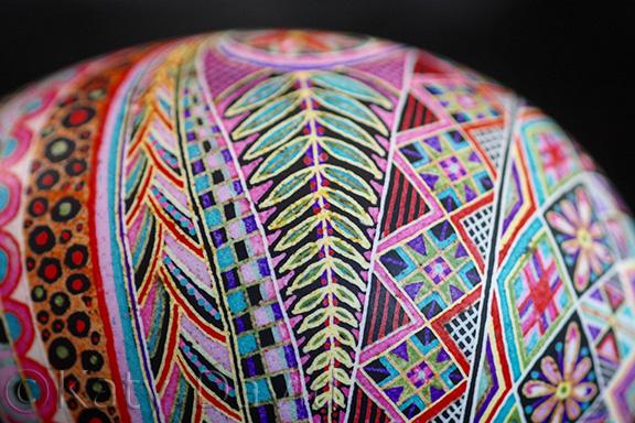 "©Katy David 2016 ""Pinwheel"" Goose egg, aniline dye"