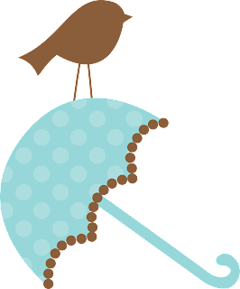 Umbrellas with Bird of the Baby on the go Clipart.