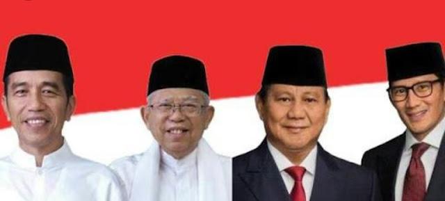 Pasangan capres Jokowi-Amin, Prabowo-Sandi